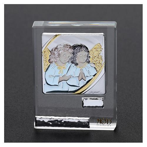Bombonera Bautismo icono Angelitos coloreados 5x5 cm 2