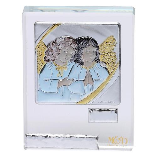 Pamiątka Chrztu ikona Anioły kolorowe 5x5 cm 1