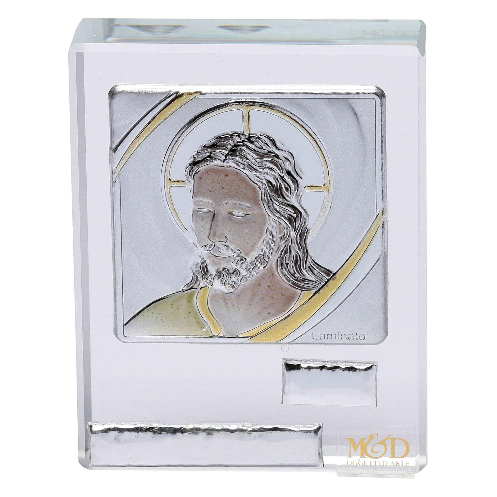 Bombonera sagrada cuadrito rostro de Jesús 5x5 cm 3