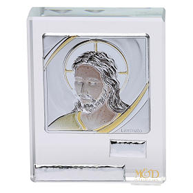 Bombonera sagrada cuadrito rostro de Jesús 5x5 cm s1