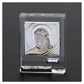 Bombonera sagrada cuadrito rostro de Jesús 5x5 cm s2