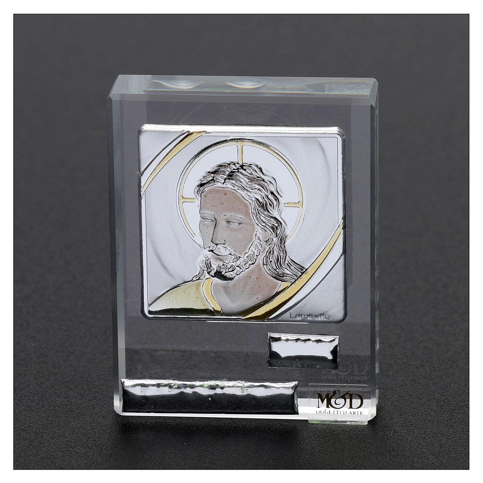 Bonbonnière religieuse cadre visage de Jésus 5x5 cm 3