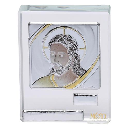 Bonbonnière religieuse cadre visage de Jésus 5x5 cm 1