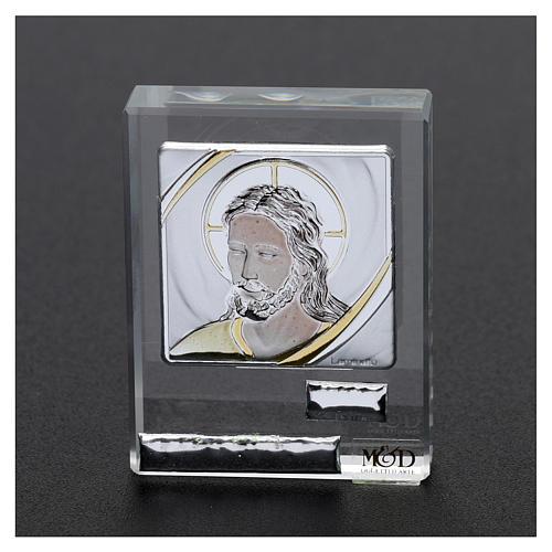 Bomboniera sacra quadretto volto di Gesù 5x5 cm 2