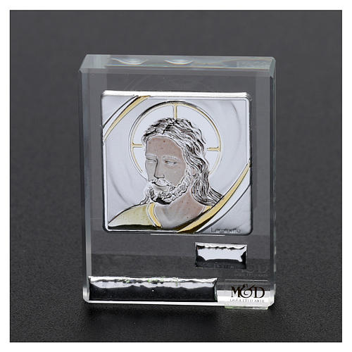 Pamiątka sakralna obrazek oblicze Jezusa 5x5 cm 2