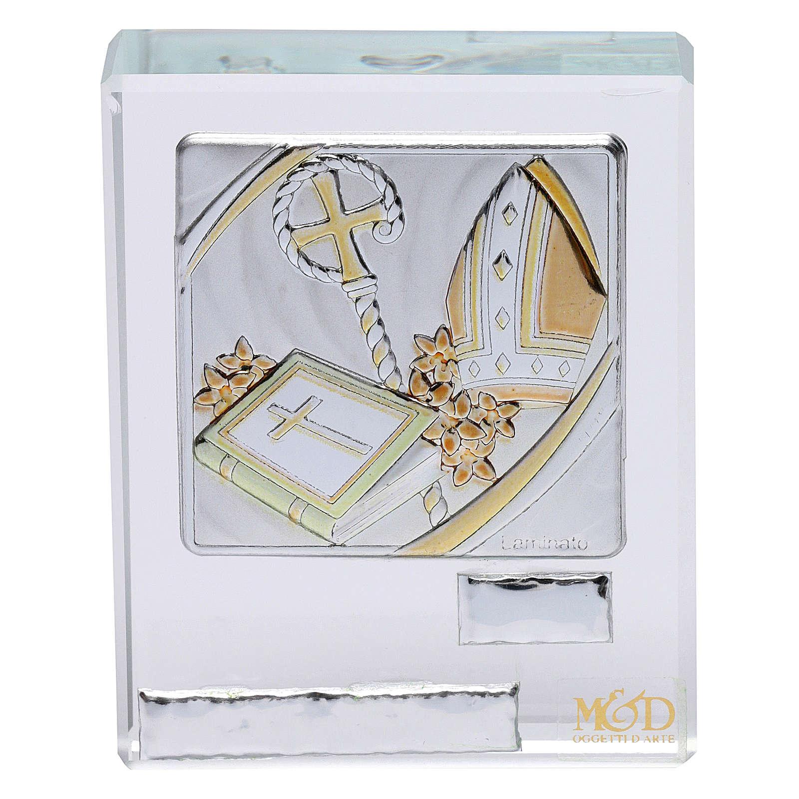 Bomboniera Cresima cristallo e lamina argento 5x5 cm 3
