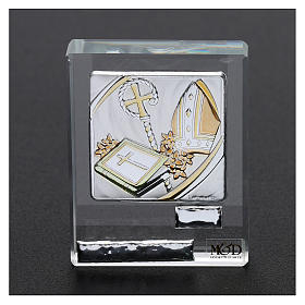 Bomboniera Cresima cristallo e lamina argento 5x5 cm s2