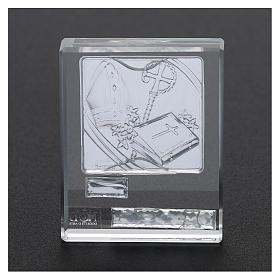 Bomboniera Cresima cristallo e lamina argento 5x5 cm s3