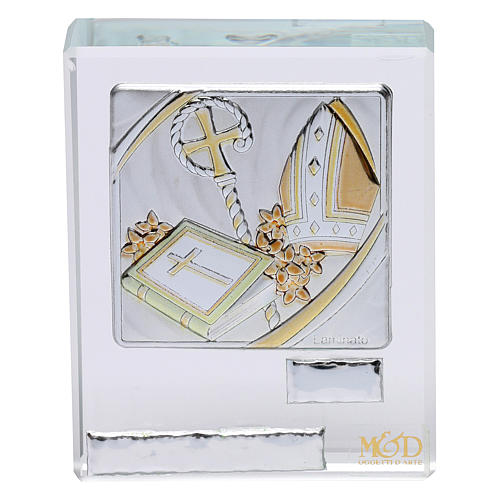 Bomboniera Cresima cristallo e lamina argento 5x5 cm 1