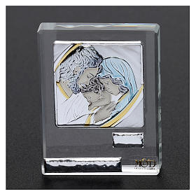 Bomboniera Sacra Famiglia quadretto lamina argento 5x5 cm s2