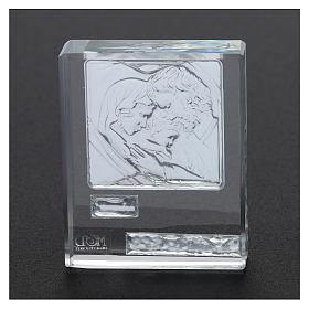 Bomboniera Sacra Famiglia quadretto lamina argento 5x5 cm s3