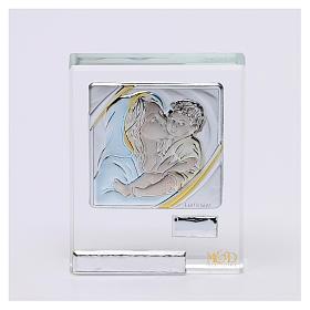 Bomboniera Sacra Famiglia quadretto lamina argento 5x5 cm s5