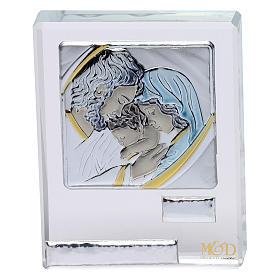 Bomboniera Sacra Famiglia quadretto lamina argento 5x5 cm s1