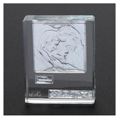 Bomboniera Sacra Famiglia quadretto lamina argento 5x5 cm 3