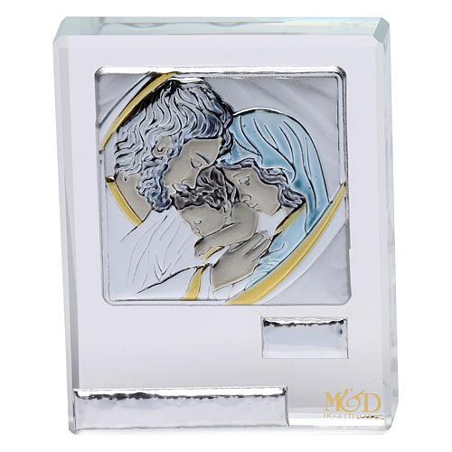 Bomboniera Sacra Famiglia quadretto lamina argento 5x5 cm 1