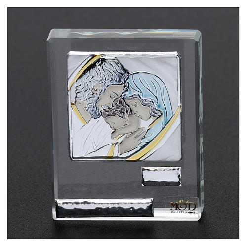 Bomboniera Sacra Famiglia quadretto lamina argento 5x5 cm 2