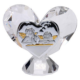 Heart shaped ornament Guardian Angels 2x2 in s1