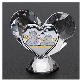 Heart shaped ornament Guardian Angels 2x2 in s2