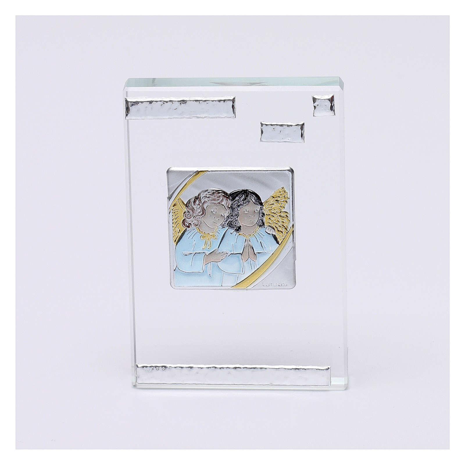 Bonbonnière religieuse cadre avec Anges Gardiens 10x5 cm 3