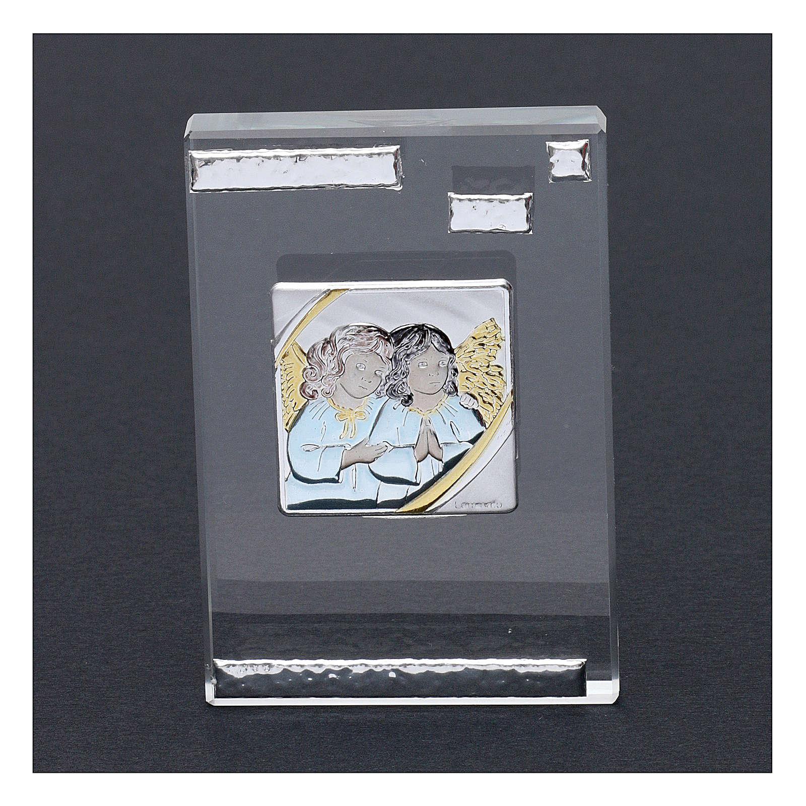 Pamiątka sakralna obrazek z Aniołami Stróżami 10x5 cm 3