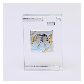 Pamiątka sakralna obrazek z Aniołami Stróżami 10x5 cm s1