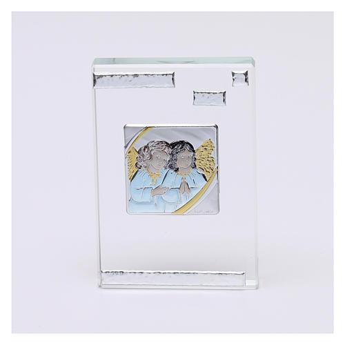 Pamiątka sakralna obrazek z Aniołami Stróżami 10x5 cm 1