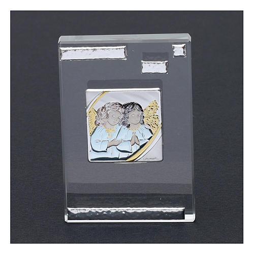 Pamiątka sakralna obrazek z Aniołami Stróżami 10x5 cm 2