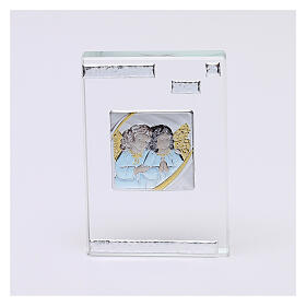 Rectangular crystal frame with Guardian Angels 4x2 in s1