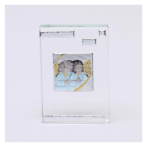 Rectangular crystal frame with Guardian Angels 4x2 in 1