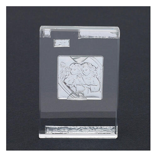 Rectangular crystal frame with Guardian Angels 4x2 in 3
