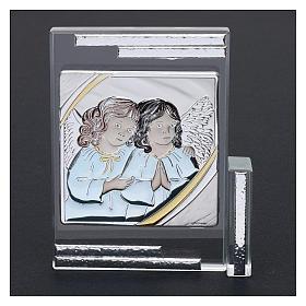 Idea regalo quadro da appoggio Angeli Custodi 10x10 cm s2
