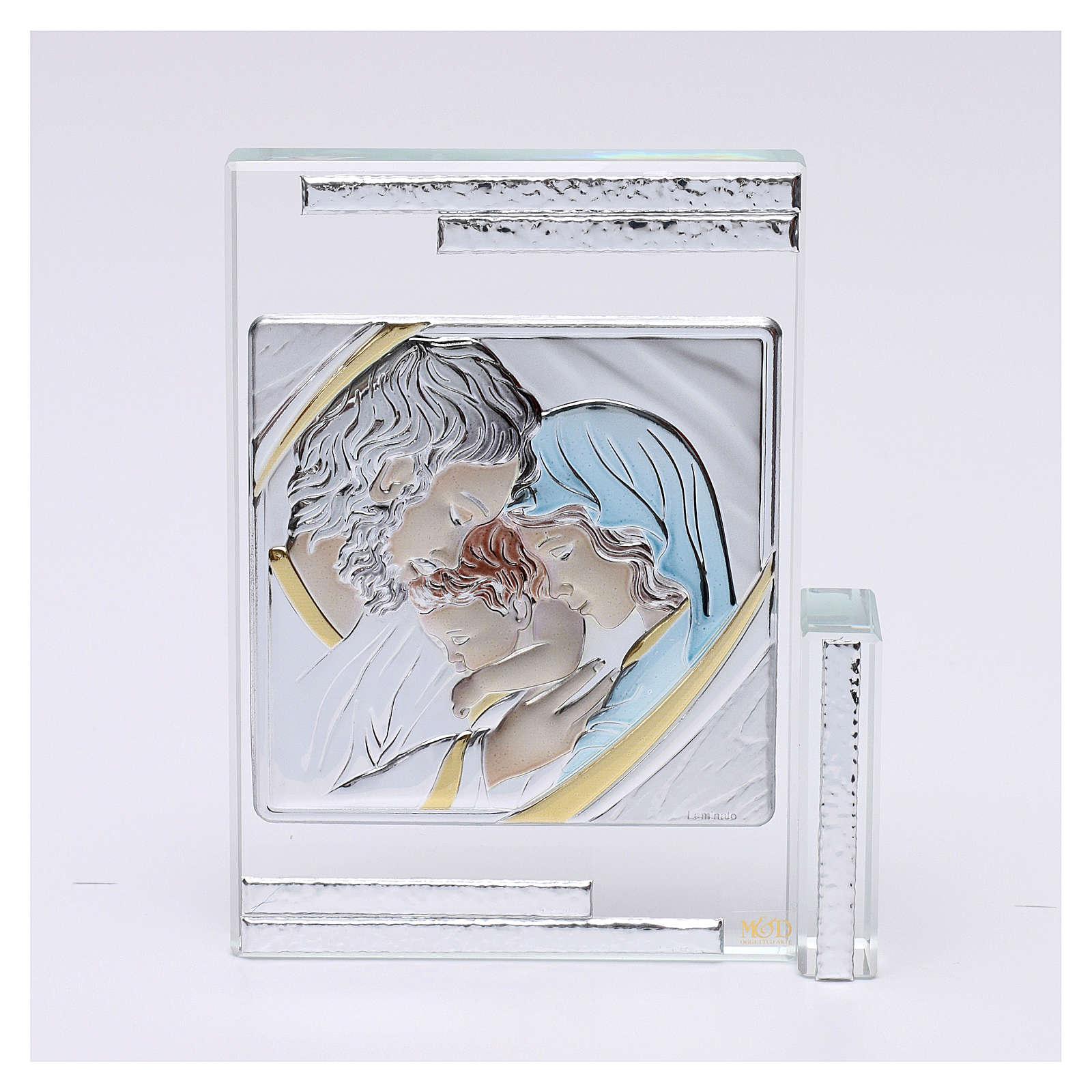 Quadretto regalo Sacra Famiglia colorata 10x10 cm 3