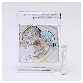 Quadretto regalo Sacra Famiglia colorata 10x10 cm s1