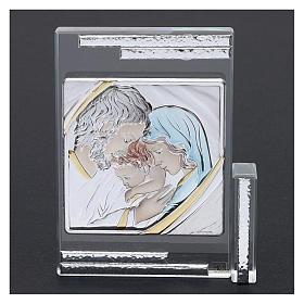 Quadretto regalo Sacra Famiglia colorata 10x10 cm s2