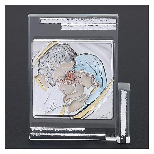 Quadretto regalo Sacra Famiglia colorata 10x10 cm 2