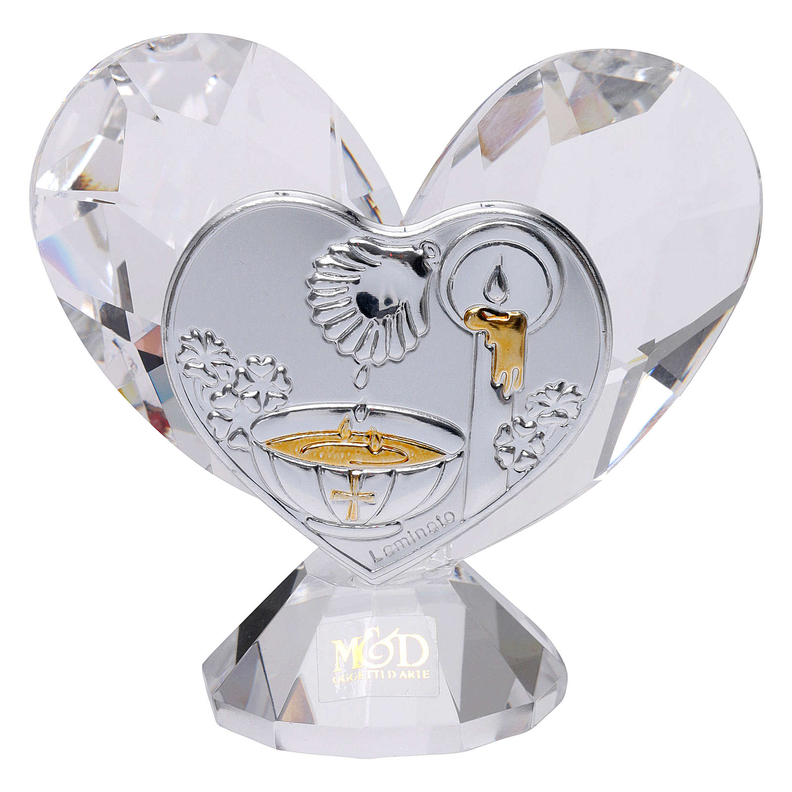 Heart-shaped party favour for Baptism 5x5 cm 3