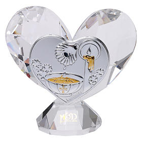 Heart-shaped party favour for Baptism 5x5 cm s1