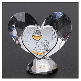 Heart shaped ornament Communion souvenir 2.2x2.4 in s2