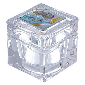 Religious favor crystal box with Angels 2x2x2 in s1