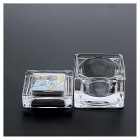 Religious favor crystal box with Angels 2x2x2 in s3