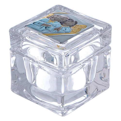 Religious favor crystal box with Angels 2x2x2 in 1