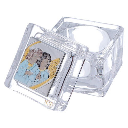 Religious favor crystal box with Angels 2x2x2 in 2