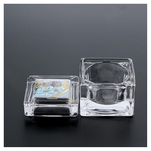 Religious favor crystal box with Angels 2x2x2 in 3