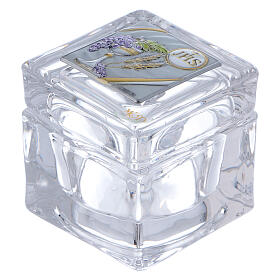 Religious favor crystal box Communion 2x2x2 in s1