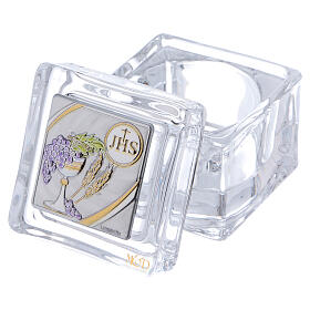 Religious favor crystal box Communion 2x2x2 in s2