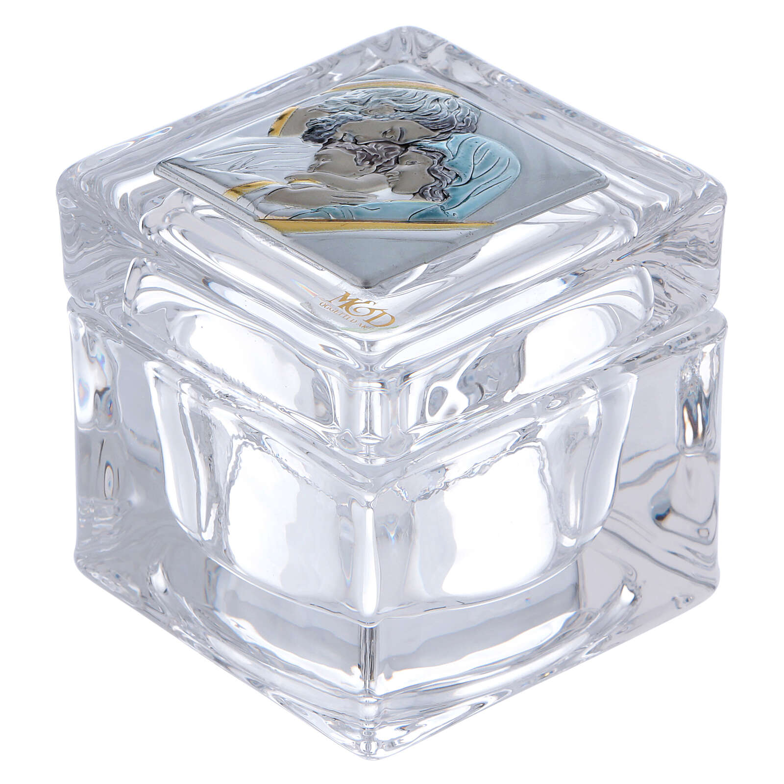 Religious favor crystal box with Holy Family 2x2x2 in 3