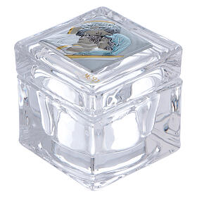 Religious favor crystal box with Holy Family 2x2x2 in s1
