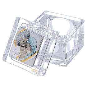 Religious favor crystal box with Holy Family 2x2x2 in s2