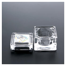 Religious favor crystal box with Holy Family 2x2x2 in s3
