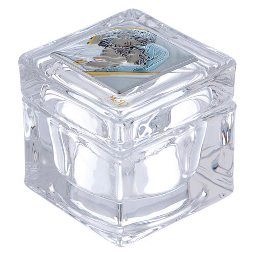Religious favor crystal box with Holy Family 2x2x2 in 1